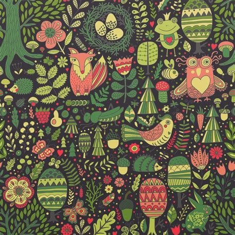 pattern painting artist forest love on behance