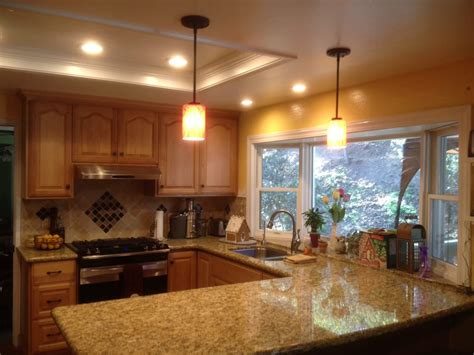 update your kitchen lighting with recessed led lighting and pendant lights yelp