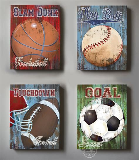 wall decor sports set of 4 canvas sports room decor