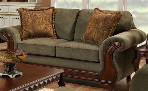 traditional loveseat green fabric traditional sofa loveseat set w carved wood
