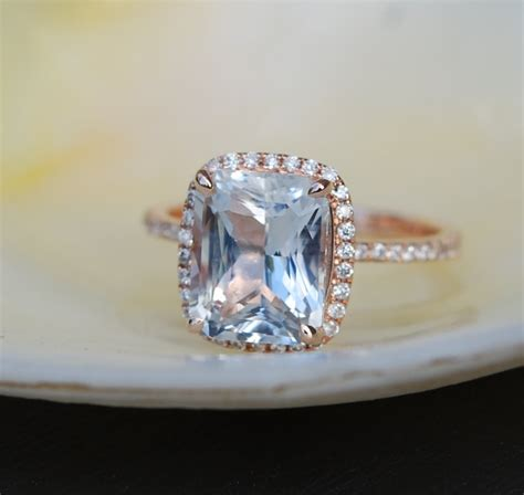 engagement ring white sapphire engagement ring emerald cut