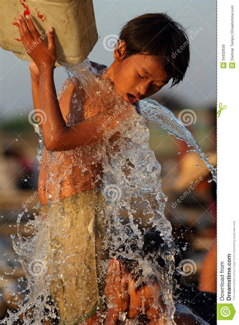 Kid Shower by Children In Mandalay Editorial Stock Image
