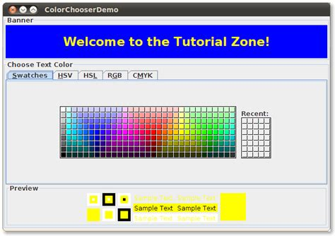 color java how to use color choosers the java tutorials gt creating