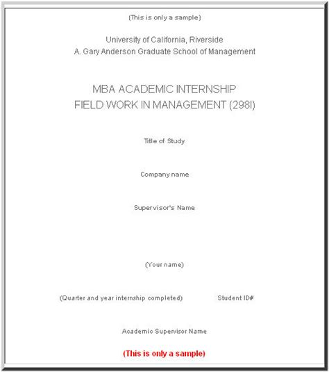 anderson graduate school of management sle report cover