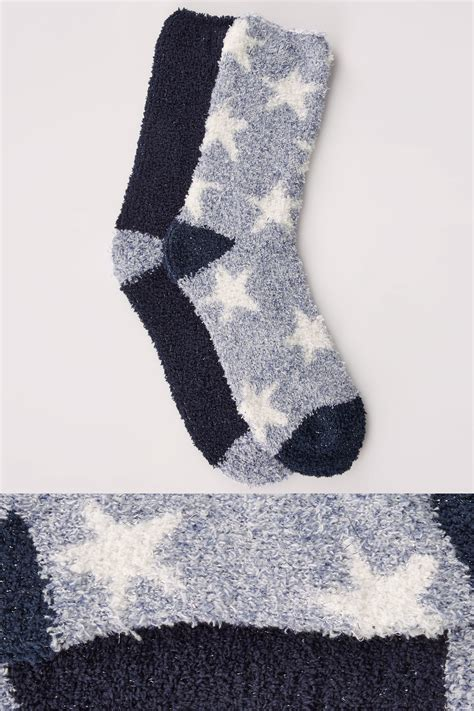 Address Finder By Name Uk 2 Pack Blue Navy White Print Sparkle Cosy Socks