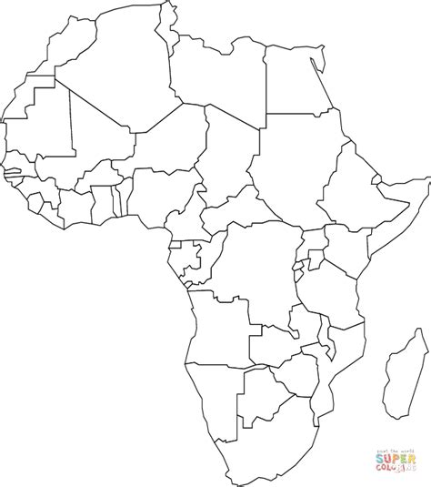 outline map of africa with countries coloring page free