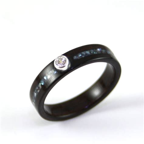 wooden engagement ring made from harestree