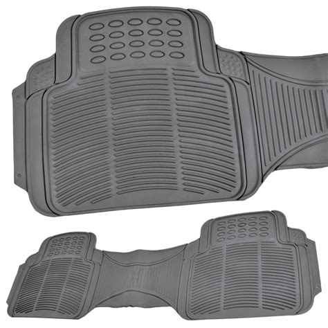3 row van suv floor mats all weather rubber protection 4 piece gray trimmable ebay