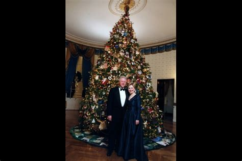 1996 blue room christmas tree clinton winter the white house