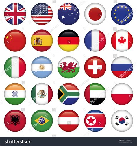 flags of the world round set round flags world top states stock vector 137660771