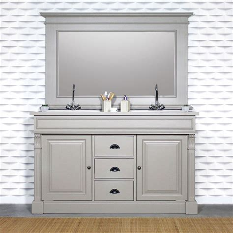 meuble salle de bain tiroir meuble salle de bain bois massif gris clair 2 vasques 2