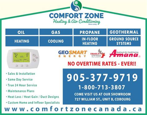 comfort zone heating and cooling comfort zone heating air conditioning cobourg on