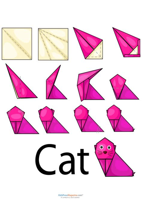 How To Fold An Origami Cat - easy origami cat kidspressmagazine