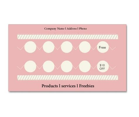 30 Printable Punch Reward Card Templates 101 Free Free Printable Punch Card Template
