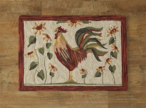Primitive Country Home Decor Rooster Hooked Rug