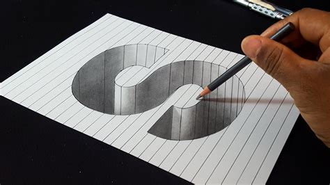 S Drawing 3d by How To Draw 3d Letter S Shape Easy 3d Drawings