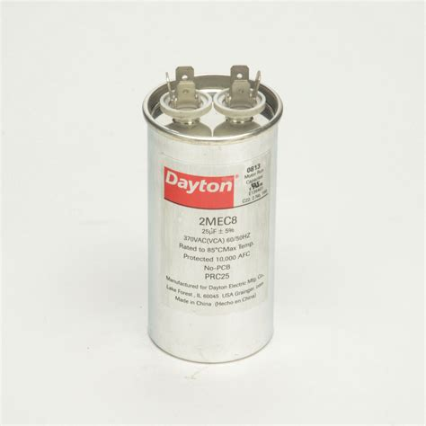capacitor rating unit dayton motor run capacitor 25 microfarad rating 370vac voltage 2mec8 motors