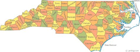 nc counties map carolina