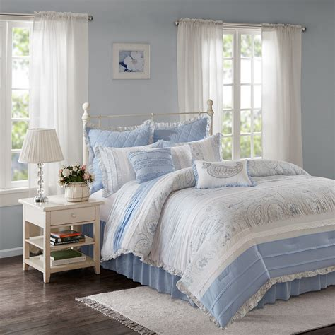 cotton comforter set madison park mirabelle 9 piece cotton percale comforter