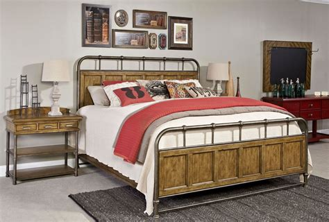 new vintage brown metal wood bedstead bedroom set from