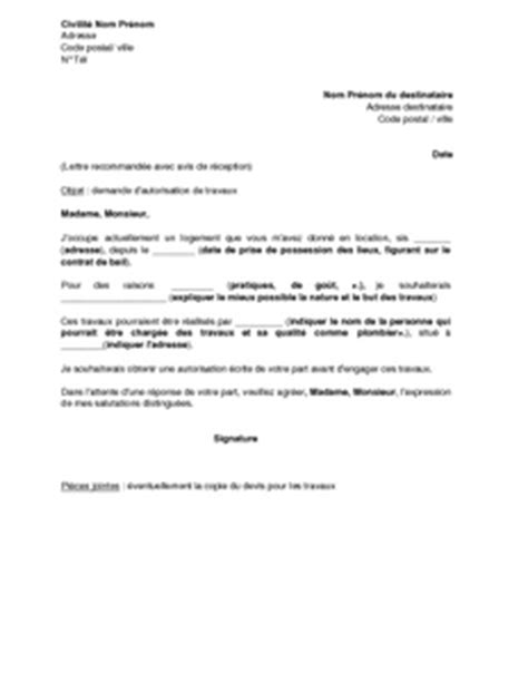 Demande De Permission Lettre Application Letter Sle Modele De Lettre Demande De Travaux