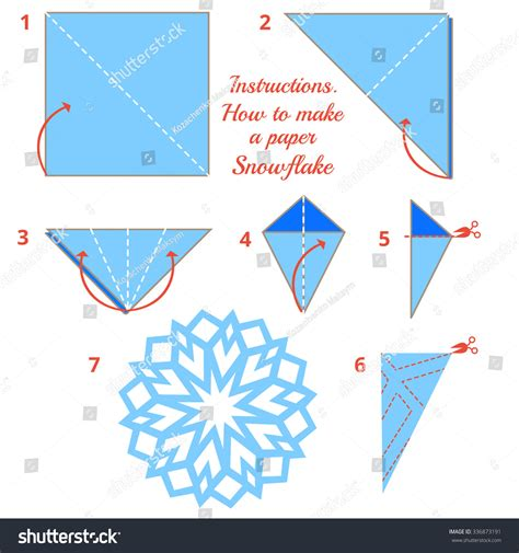 How To Make A Paper Snowflake Easy Step By Step - how make paper snowflake tutorial stock