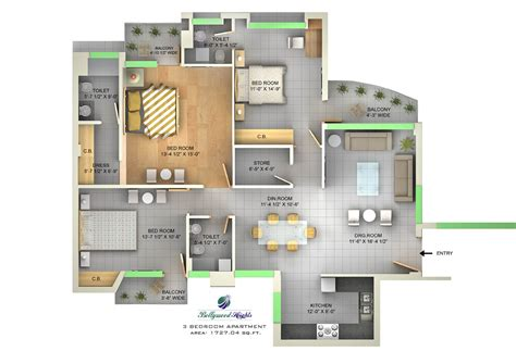 3 bhk floor plan property in chandigarh