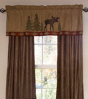 Cabin Style Curtains Moose Lodge Valance And Drapes Curtians Window Treatments