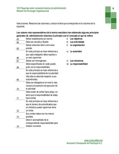 preguntas generales de administracion examen conceptos basicos administracion