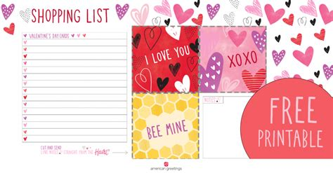 valentines list printable s day shopping list american