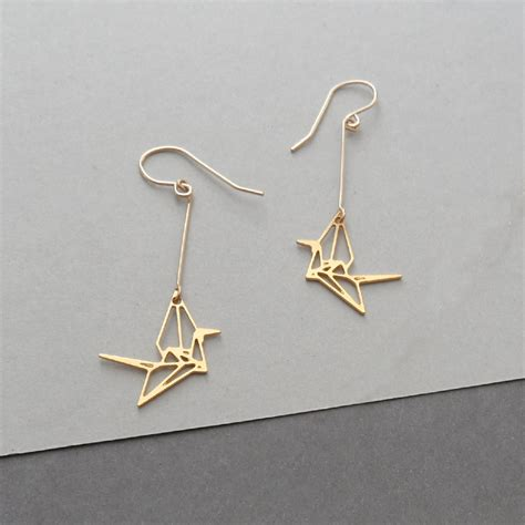 origami crane crane earrings bird earrings by