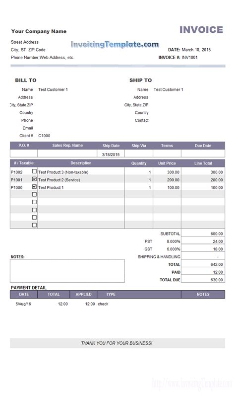invoice for payment template invoice sle with partial payment and payment history