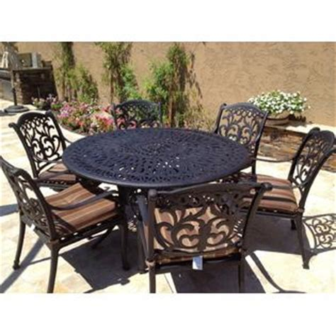 7 Pc Patio Dining Set Patioland Ld1238 1 Ld777a 60 Mandalay Outdoor Patio 7 Pc Dining Set 60 Inch Cast Aluminum