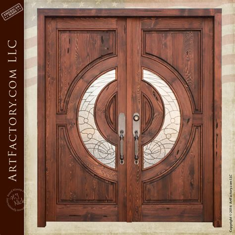 crescent stained glass entry double doors craftsman