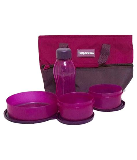 Tupperware Purple tupperware purple plastic lunch box with bag 800 ml