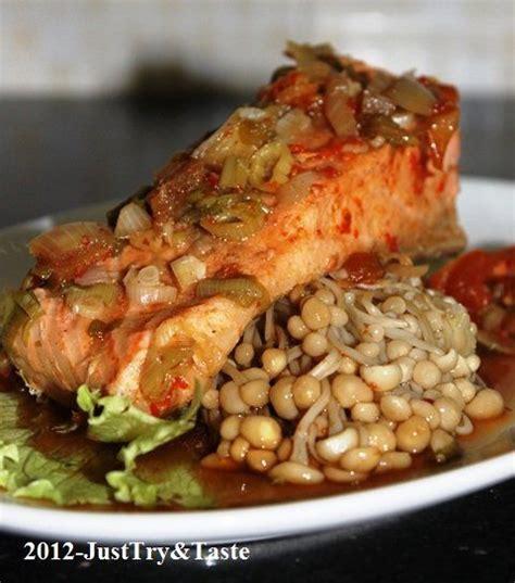 resep tim ikan salmon jamur enoki masakan lezat sehat