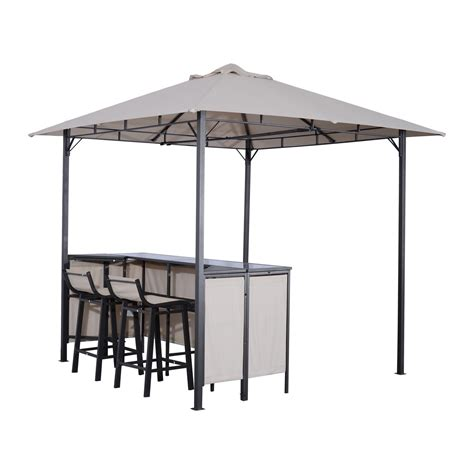 Gazebo With Bar Table Outsunny 8 X 8 Outdoor Covered Bar Gazebo Set W Barstools Tents Canopies Gazebos Outdoor