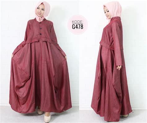 Denim Dress Baju Dress Maxi Dress Molek Jumbo dress waka g478 baju style ootd