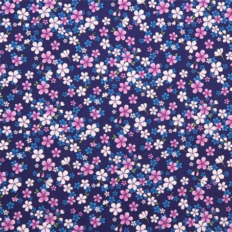 Pink Blossom In Blue navy blue asia fabric with purple and pink cherry blossom