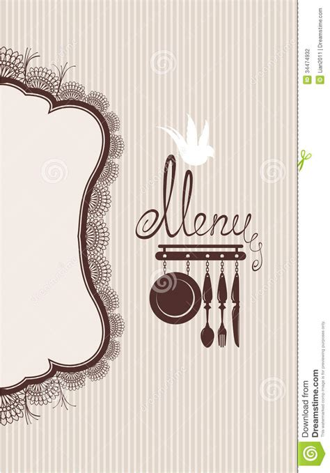 design background menu restaurant menu design with lace table napkin and stock