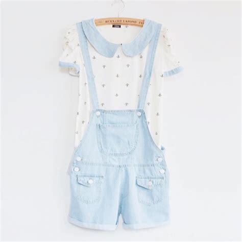 light blue collared shirt romper jumpsuit shirt overalls sky blue collared