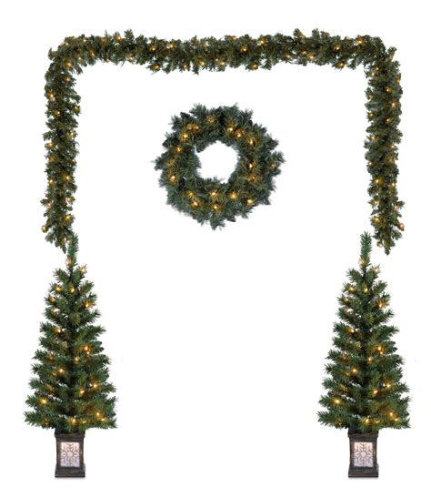 artificial christmas tree 3 pcs sets outdoor lighted yard decorations pre lit tree garland wreath 5 pack 1d 780414073387 ebay
