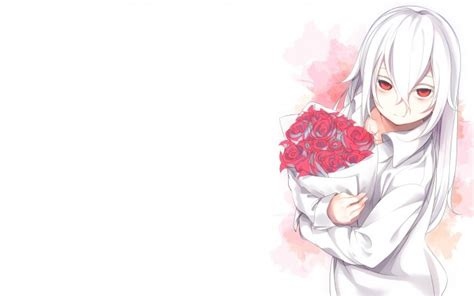 anime girl with white hair and red eyes wallpaper anime girl white hair flowers red eyes