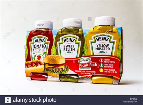 a three pack of heinz products ketchup mustard and sweet