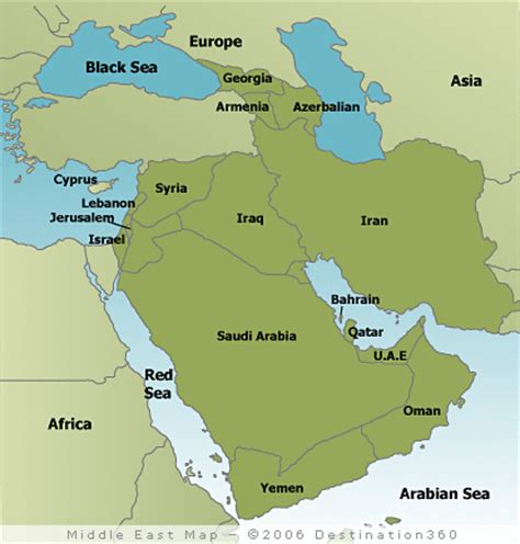 middle east map sea middle east map