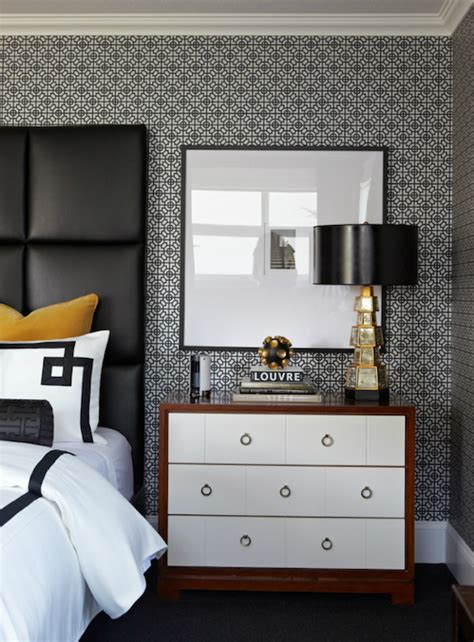 grey wallpaper masculine black leather headboard contemporary bedroom