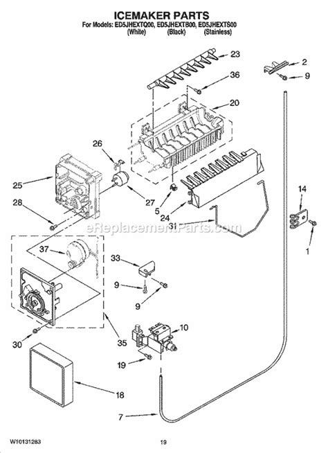 whirlpool side by side refrigerator diagram wiring