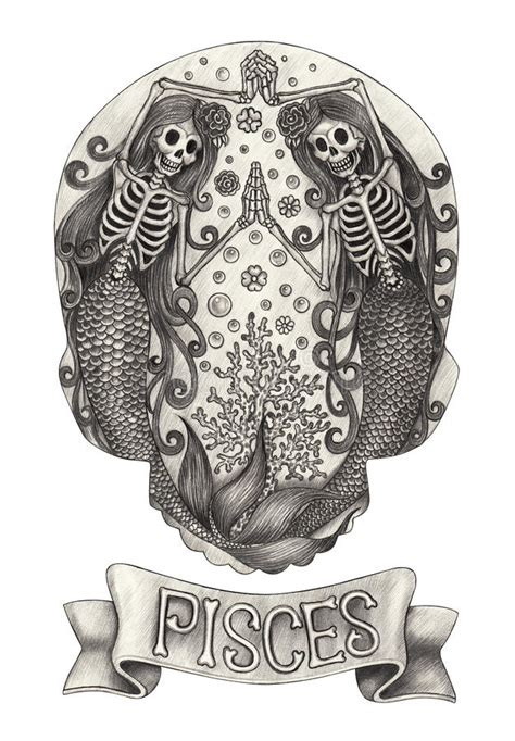 zodiac skull pisceshand drawing  paper stock
