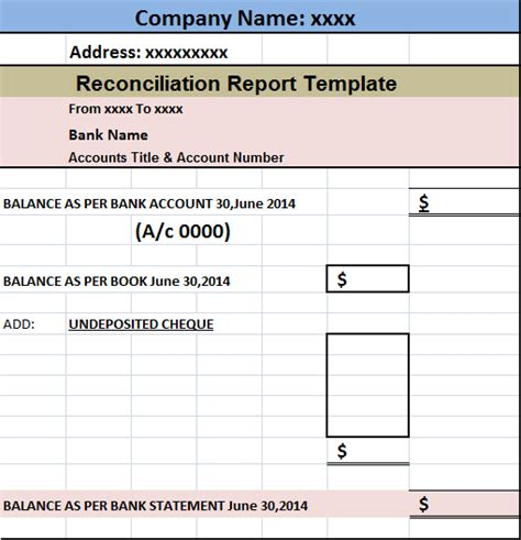 account reconciliation template account reconciliation report template free report templates