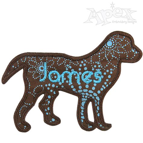 embroidery design dog dog with rope leash embroidery design